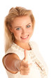 Blonde woman showing thumb up