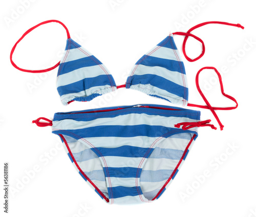 blue striped swimsuit