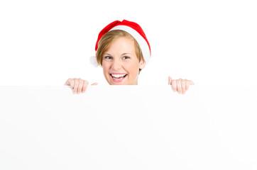 weihnachtliche frau mit werbetafel