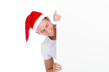 weihnachtsmann mit angebotstafel