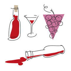Wine silhouette set. Vector illustration