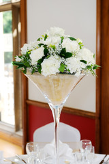 Wedding reception floral arrangment