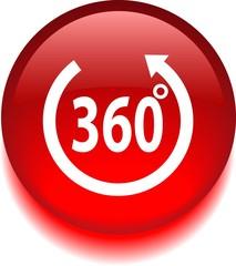Векторная красная иконка с надписью 360 градусов