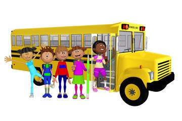 Schoolchildren 3d and school bus
