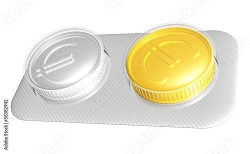 symbolische Euromünzen als Tabletten - finanzelle Hilfe