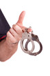 Man hand with handcuffs isolated