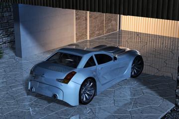 Sportwagen in beleuchteter Garageneinfahrt
