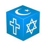 Blue cube with religious symbols - Christianity, Islam, Judaism