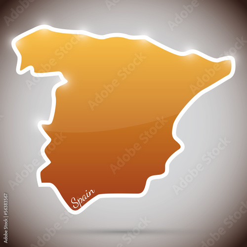 vintage sticker in form of Spain