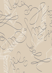 Vector Seamless Pattern with Quills and Flourishes