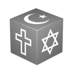 Grey cube with religious symbols - Christianity, Islam, Judaism
