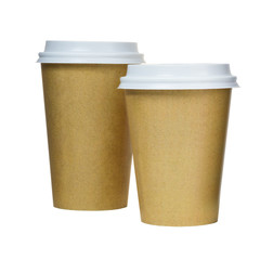 Takeaway coffee cups isolated on white. Coffee packaging
