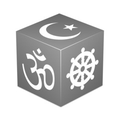 Grey cube with religious symbols - Hinduism, Buddhism, Islam