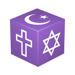 Violet cube with religious symbols - Christianity,Islam,Judaism