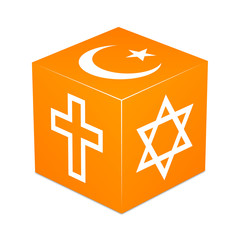 Orange cube with religious symbols - Christianity,Islam,Judaism