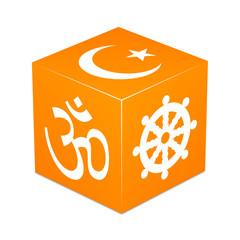 Orange cube with religious symbols - Hinduism, Buddhism, Islam