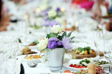 Flowers at a celebration table