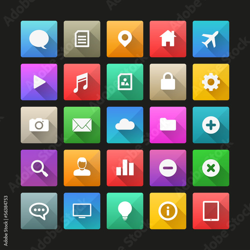 Long shadow flat icon set