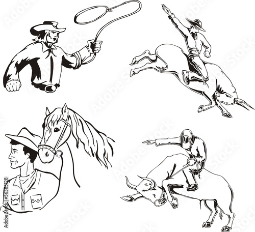 Set of cowboys