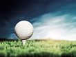 Golf ball placed on white golf tee on green grass golf course