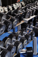 A set up with many dumbbells