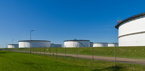 white storage tanks