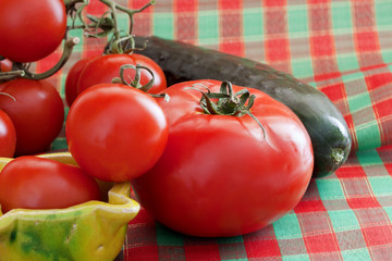 Tomatoes and cucumber.