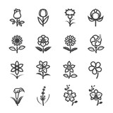 Flower Icons for Pattern with White Background