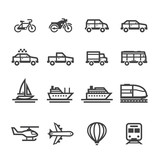 Transportation and Vehicles Icons with White Background