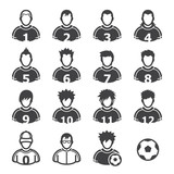 Soccer Player Icons with White Background