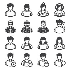 Sport and Activity People Icons with White Background