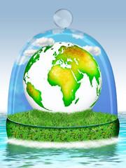 Mutter Erde unter der Glasglocke