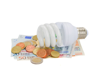 energy saving lamp bulb on euro money