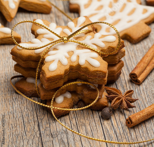 Snowflake shaped Gingerbread cookies