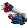 blue and white truck crane