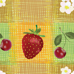 Seamless pattern with strawberry ,cherry,flowers