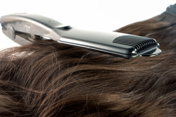 Hair straighteners and hair on white background