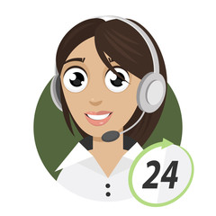 Girl telephone operator, call center 24
