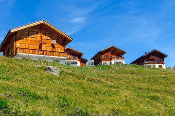 Wooden houses in the alps