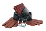 Mens wallet, belt and gloves