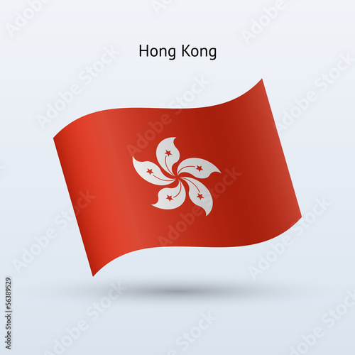 Hong Kong flag waving form. Vector illustration.