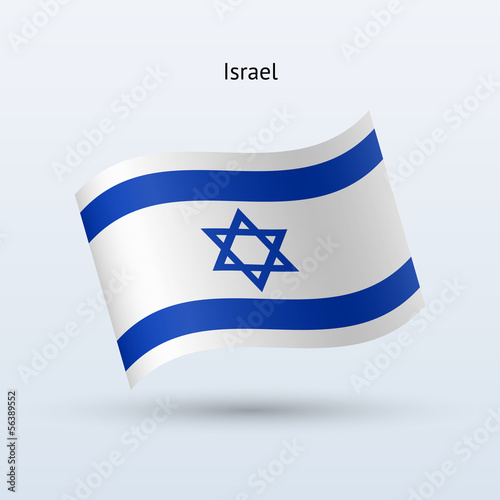 Israel flag waving form. Vector illustration.