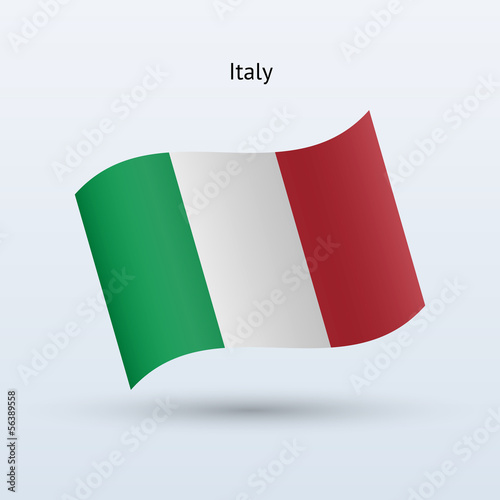 Italy flag waving form. Vector illustration.