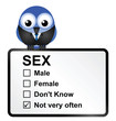 Comical sexually deprived bird