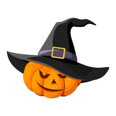 Jack-O-Lantern. Halloween pumpkin with black witches hat. Vector