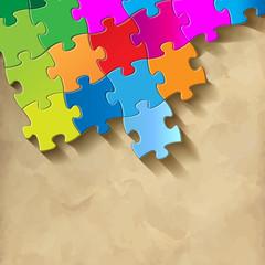 Puzzle Hintergrund Textur Puzzlestücke Vintage Bunt