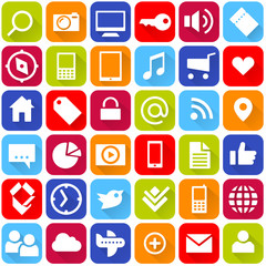 bunte buttons mit social media icons