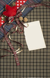 Tartan background texture with polka dots and red ribbon