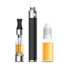cigarette électronique, e-cigarette, e-liquide. Vecteur cmjn