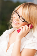 teenage girl with cell phone calling
